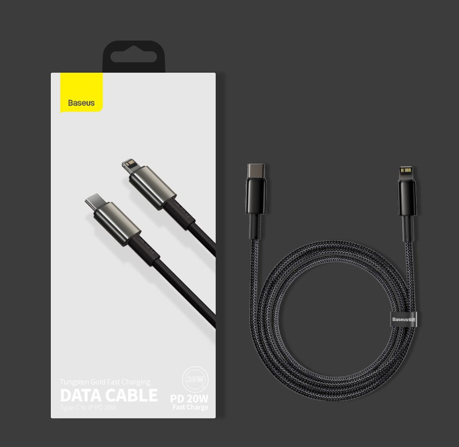 Baseus USB Type C - Lightning cable Power Delivery fast charge 20 W 2 m black (CATLWJ-A01)