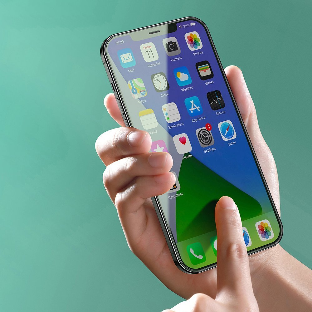 Baseus 2x 0,3 mm Eye Protection Full Coverage Green Tempered Glass Film with Anti Blue Light Filter for iPhone 12 mini (SGAPIPH54N-LP02)