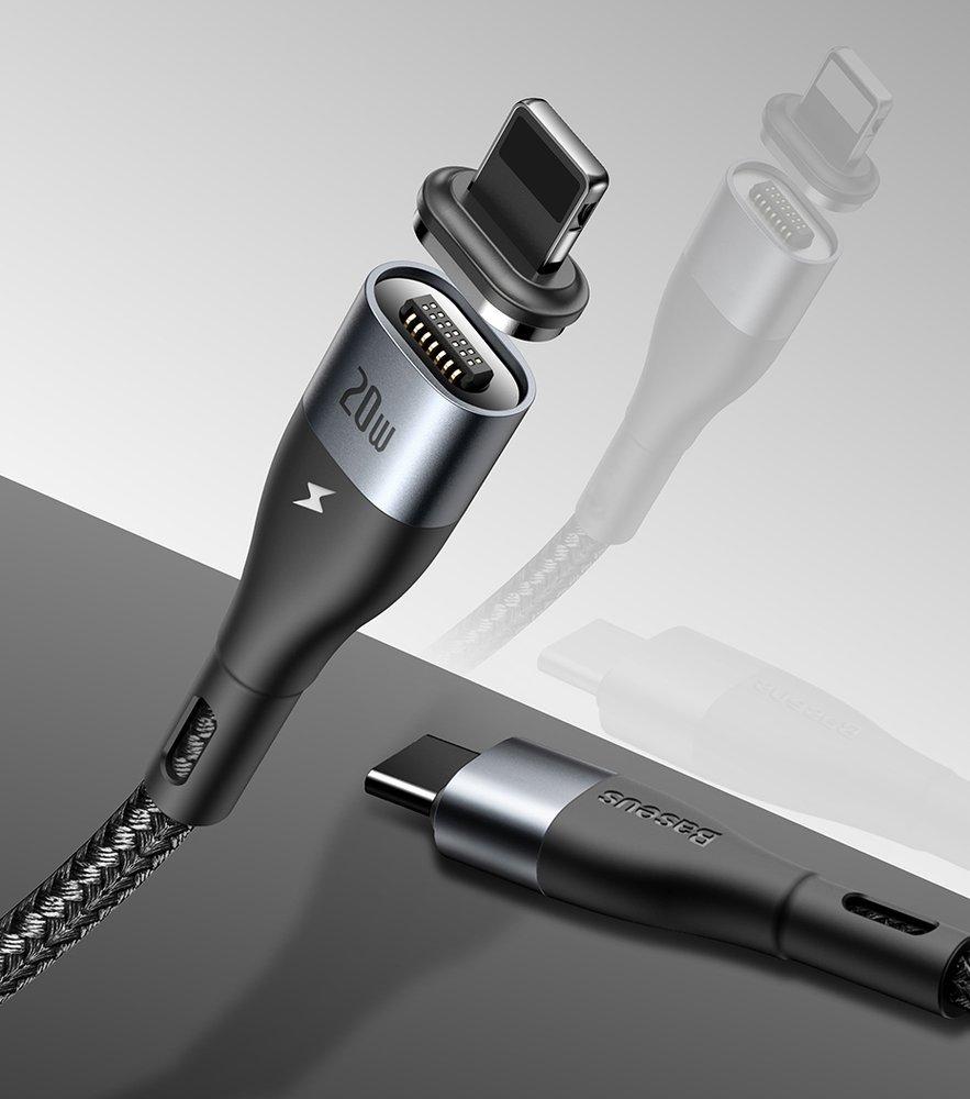 Baseus Zinc USB Type C - Lightning magnetic data charging cable Power Delivery 20 W 1 m black (CATLXC-01)