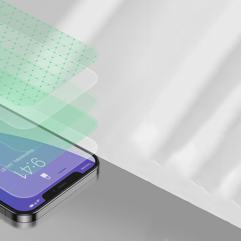 Baseus 2x 0,15 mm Eye Protection Full Coverage Green Tempered Glass Film with Anti Blue Light Filter for iPhone 12 mini (SGAPIPH54N-LP02)