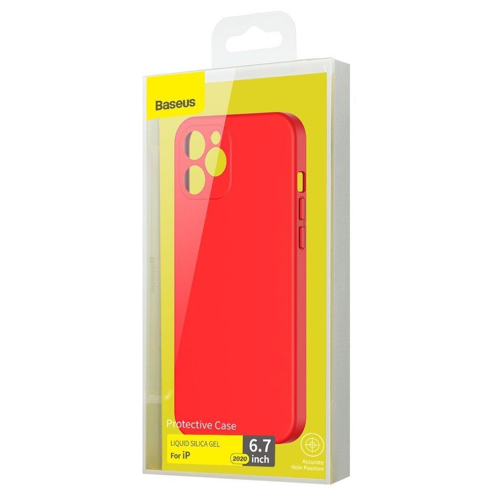 Baseus Liquid Silica Gel Case Flexible gel case iPhone 12 Pro Max Bright red (WIAPIPH67N-YT09)
