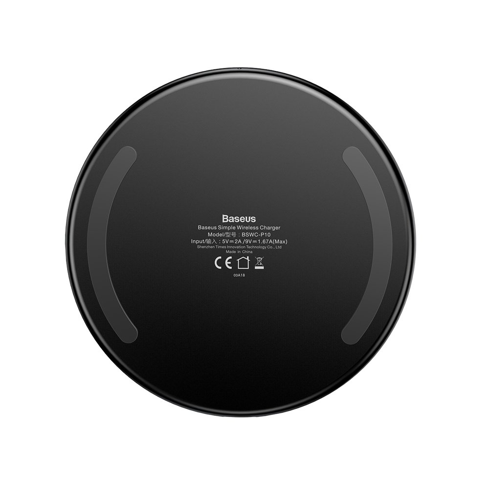 Baseus Simple Stylish Wireless Charger Qi Inductive Pad 2A 1.67A 10W with USB / Lightning Cable 1.2M