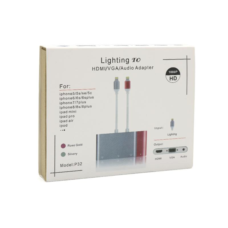 Adapter za iPhone lightning na HDMI+VGA+Audio