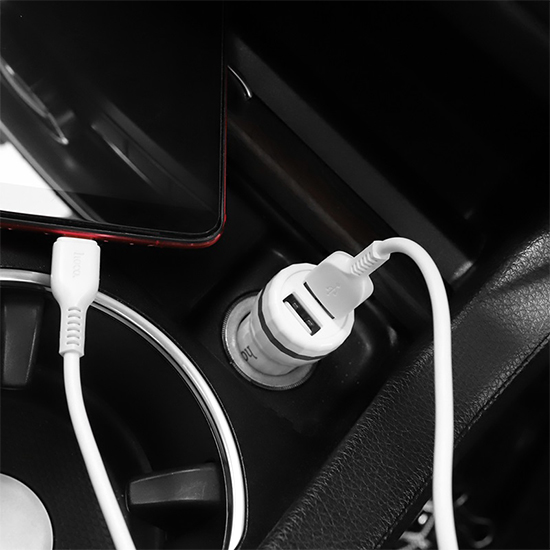 Car charger HOCO Z27 2XUSB 5V / 2.4A Type C white-silver