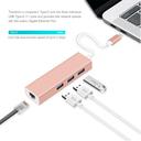 Adapter Type C na 3 USB 3.0 + RJ45 Gb JWD-T5 roze