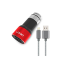 Auto punjač LDNIO C303 dual USB 3.6A sa iPhone lightning kablom crveni