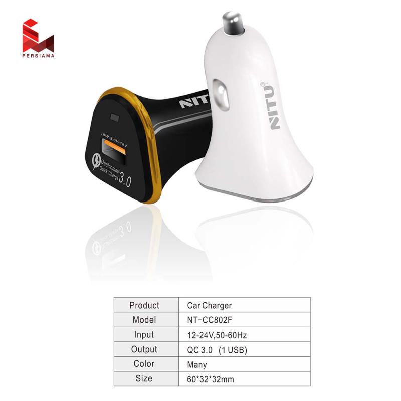 Auto punjač NITU NT-CC802F QC 3.0 USB beli