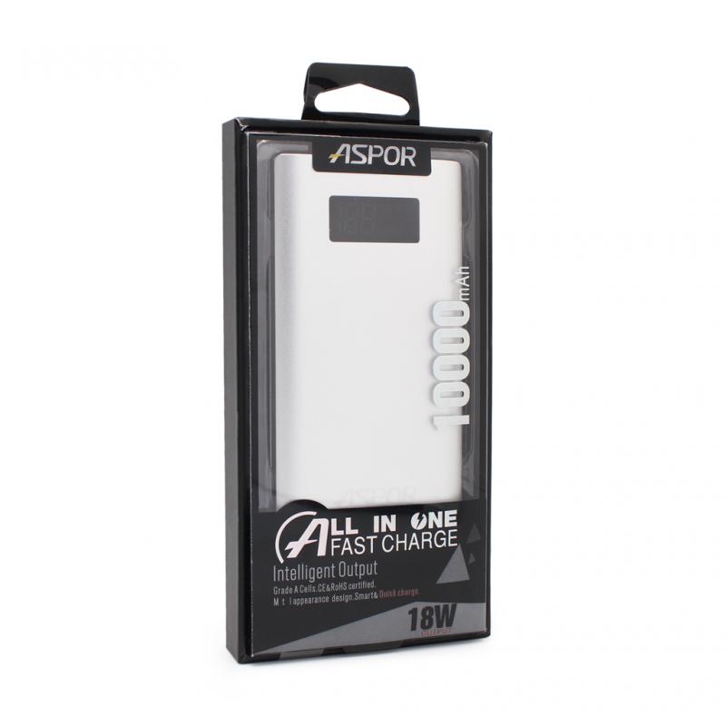 Back up baterija Aspor QC 10000mAh srebrna