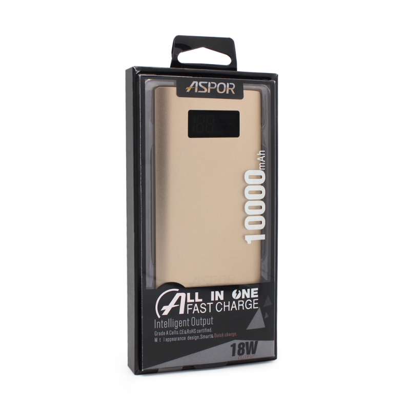 Back up baterija Aspor QC 10000mAh zlatna