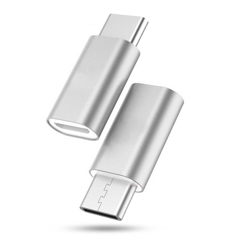 Adapter micro USB na type C srebrni