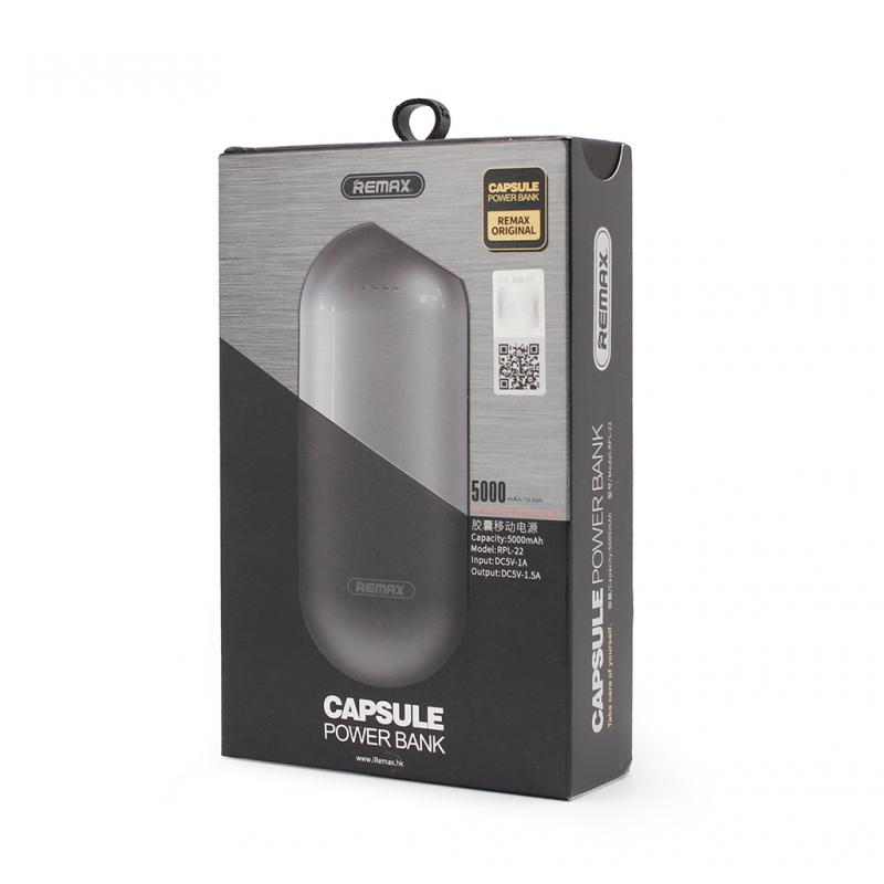 Back up baterija REMAX Capsule RPL-22 5000mAh crna