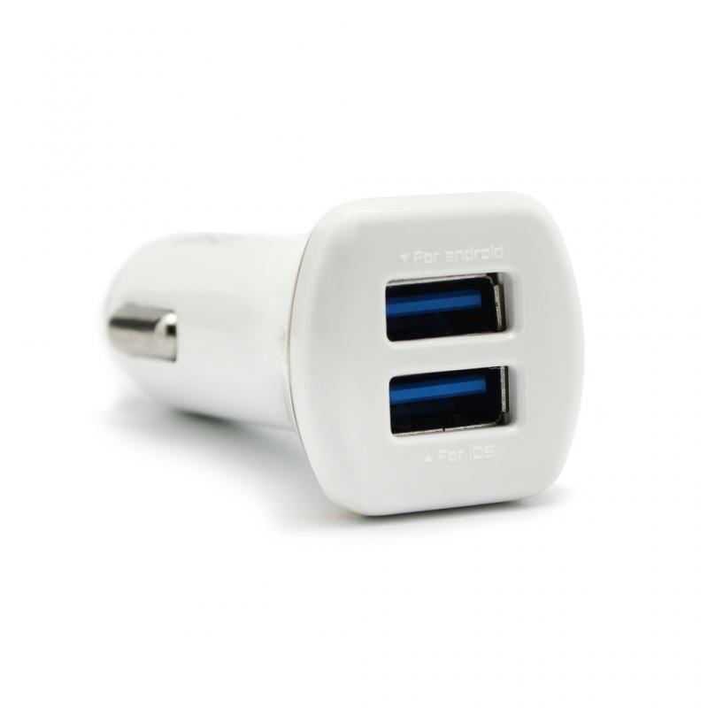 Auto punjac LDNIO DL-219 dual USB 2.1A sa micro USB kablom beli