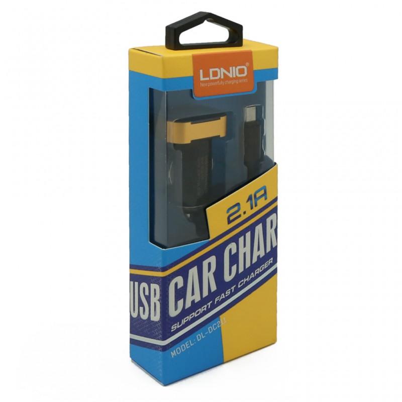 Auto punjac LDNIO DL-C22 dual USB 2.1A sa iPhone 6/6S kablom crni