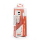 Auto punjac LDNIO DL-C29 dual USB 3.4A sa micro USB kablom beli