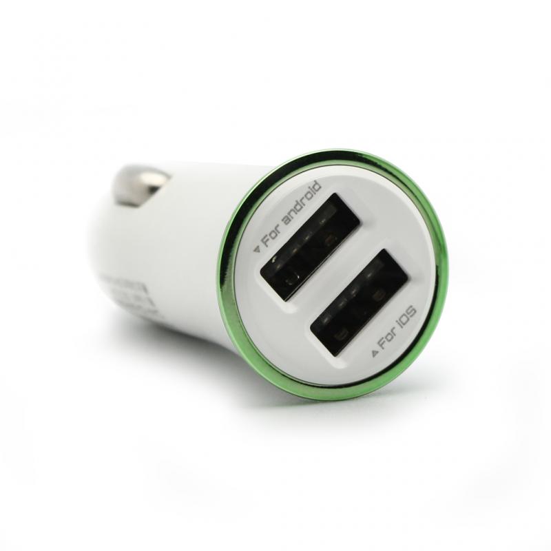 Auto punjac LDNIO DL-C28 dual USB 3.4A sa iPhone lightning kablom beli