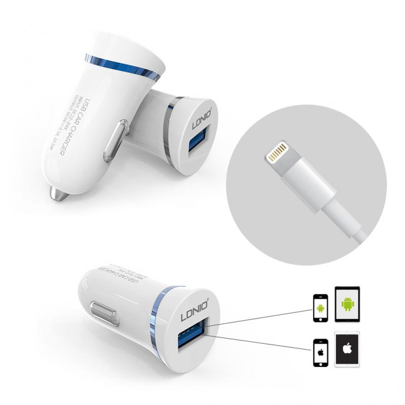 Auto punjac LDNIO DL-C12 2.1A sa iPhone Lightning kablom beli