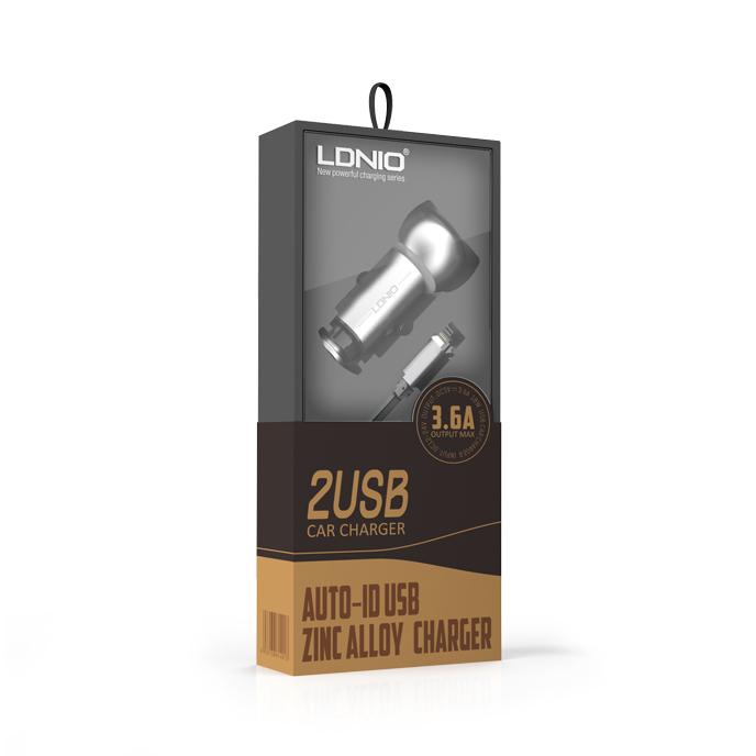 Auto punjac LDNIO C401 dual USB 3.6A sa iPhone lightning kablom srebrni