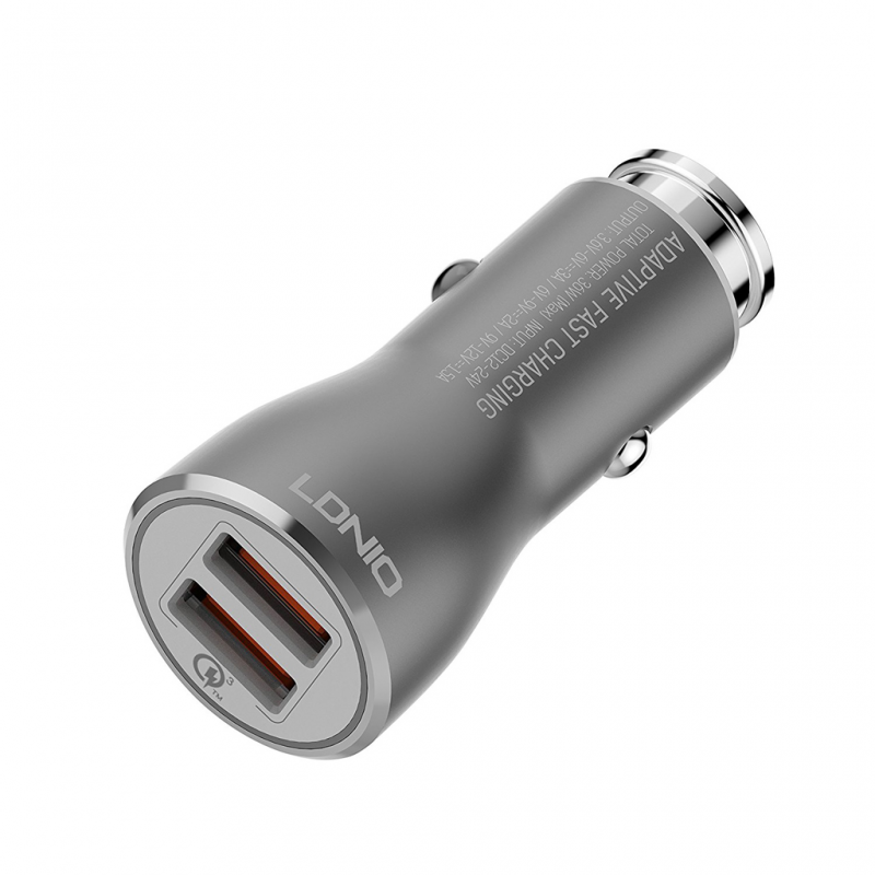 Auto punjac LDNIO C407Q Quick Charge 3.0 2XUSB 3.6V 3.0A sa iPhone lightning kablom crni