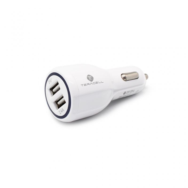 Auto punjac Teracell Ultra DC01 2.4A sa iPhone lightning kablom beli
