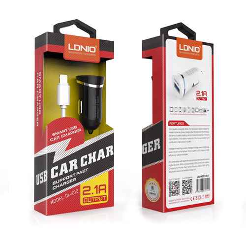 Car charger LDNIO DL-C12 USB 5V / 2.1A for Iphone lightning white-silver