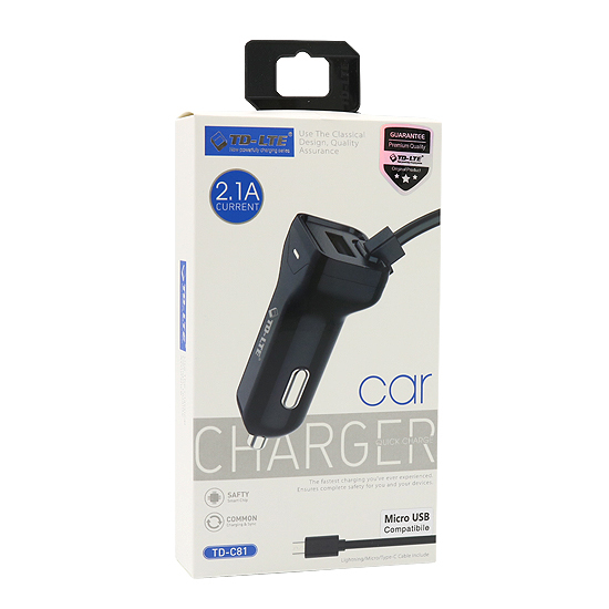 Car charger Comicell TD-C81 2.1A USB microUSB white