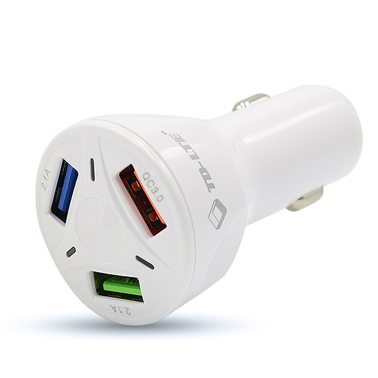 Car charger Comicell TD-FC80 3xUSB 5V / 7A FAST QC 3.0 for Iphone lightning white