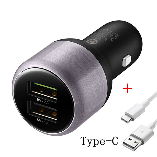 Car charger Huawei AP31 FAST 2xUSB 5V / 9V 1A / 2A Type C black-gray FULL ORG
