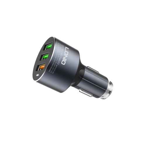 Car charger LDNIO C703Q 3xUSB 5V / 3A FAST QC 3.0 Type C gray