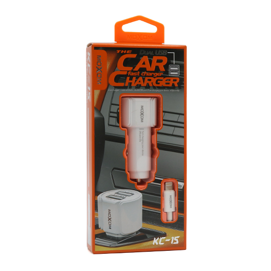 Car charger Moxom KC-15 2xUSB 5V / 2.4A for Iphone lightning white