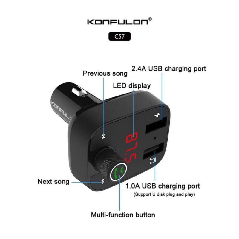Auto punjač KONFULON Multi LED display dual USB C57