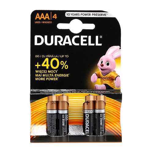 Alkaline battery 1.5V AAA LR3 blister 4/1 Duracell