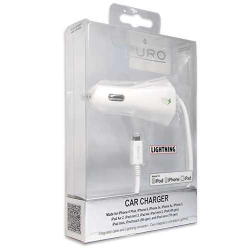 Car charger PURO for Iphone lightning 2.1A white