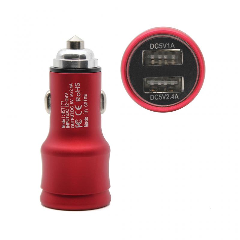 Auto punjač Hisoonton HST-177 dual USB 2.4A crveni
