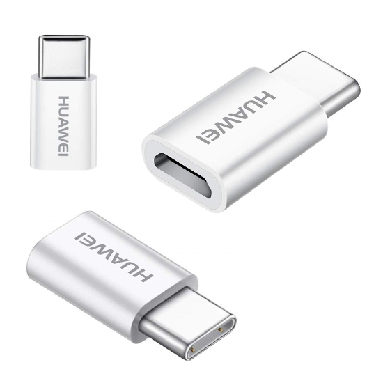 Adapter Huawei AP52 microUSB to Type C white FULL ORG