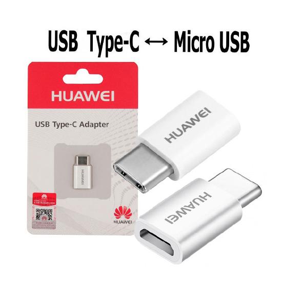 Adapter Huawei AP52 microUSB to Type C white FULL ORG