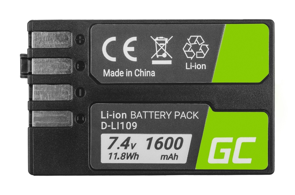 Baterija Green Cell ® D-Li109 DLi109 za kamere Pentak K-r, K-2, K-30, K-50, K-500, K-S1, K-S2 7,4V 1600mAh