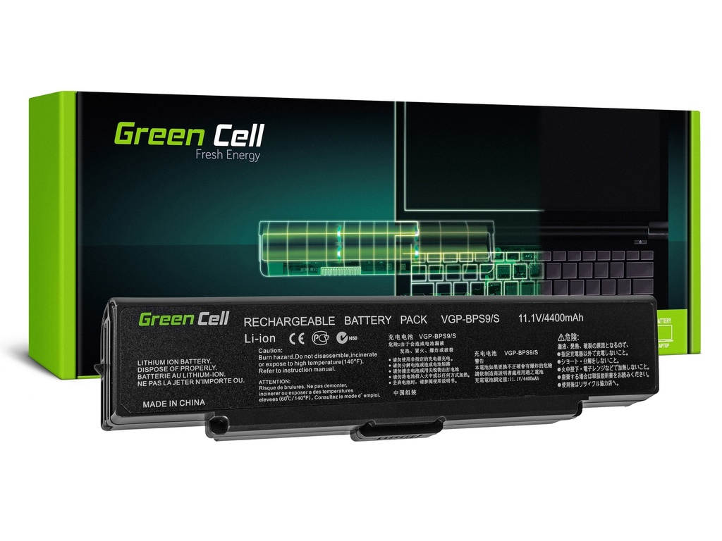 Baterija Green Cell za Sony Vaio VGN-AR570 CTO VGN-AR670 CTO VGN-AR770 (black) / 11,1V 4400mAh