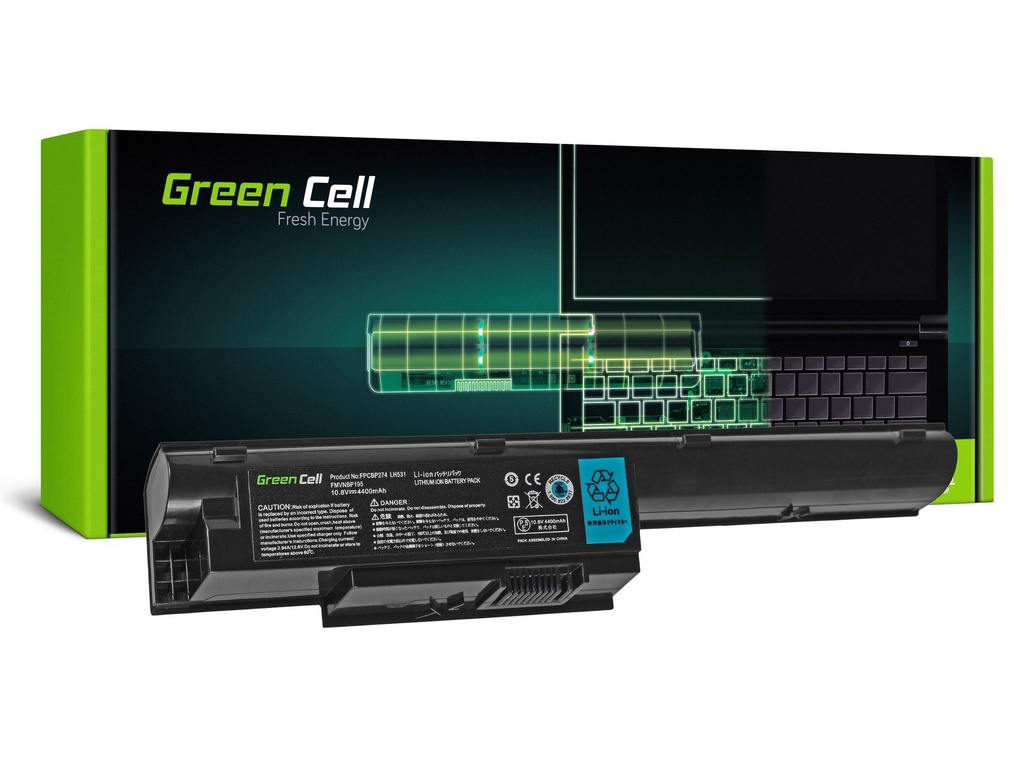 Baterija Green Cell za Fujitsu-Siemens LifeBook BH531 LH531 SH531 / 11,1V 4400mAh