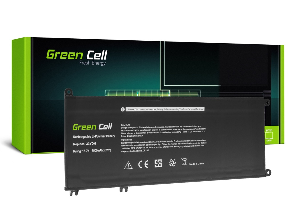 Baterija Green Cell 33YDH za Dell Inspiron G3 3579 3779 G5 5587 G7 7588 7577 7773 7778 7779 7786 Latitude 3380 3480 3490 3590