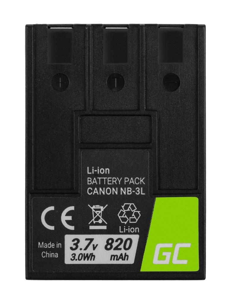 Baterija Green Cell ® NB-3L NB3L za fotoaparate Canon Digital IKSUS II, PoverShot SD100, IKSI Digital 600 3.7V 820mAh