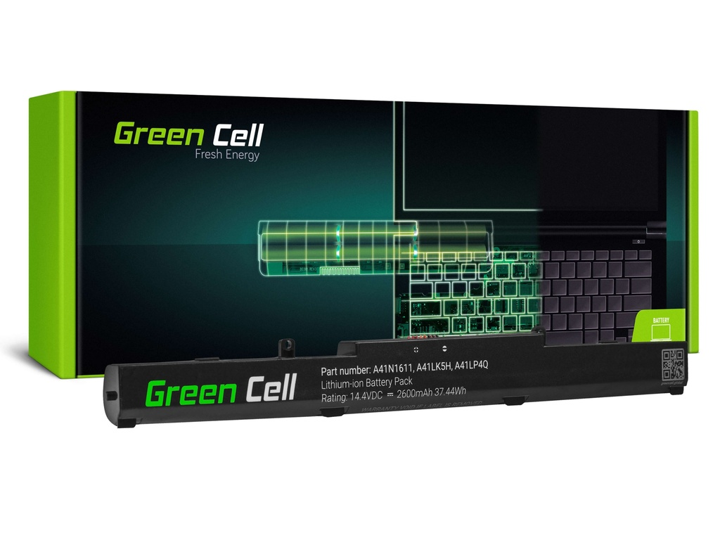 Baterija Green Cell A41N1611 za Asus GL553 GL553V GL553VD GL553VE GL553VV GL753 GL753V GL753VD GL753VE FKS553V FKS753 FKS753V