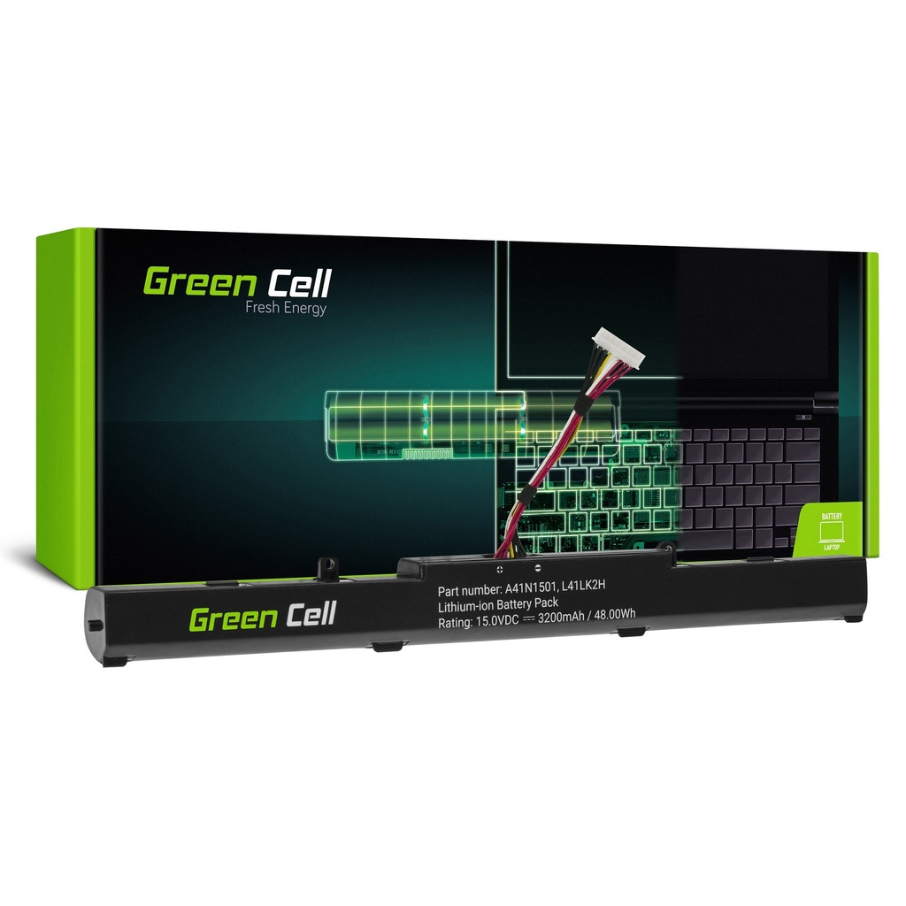 Baterija Green Cell A41N1501 za Asus ROG GL752 GL752V GL752VV, Asus VivoBook Pro N552 N552V N552VV N552VKS N752 N752V N752VKS