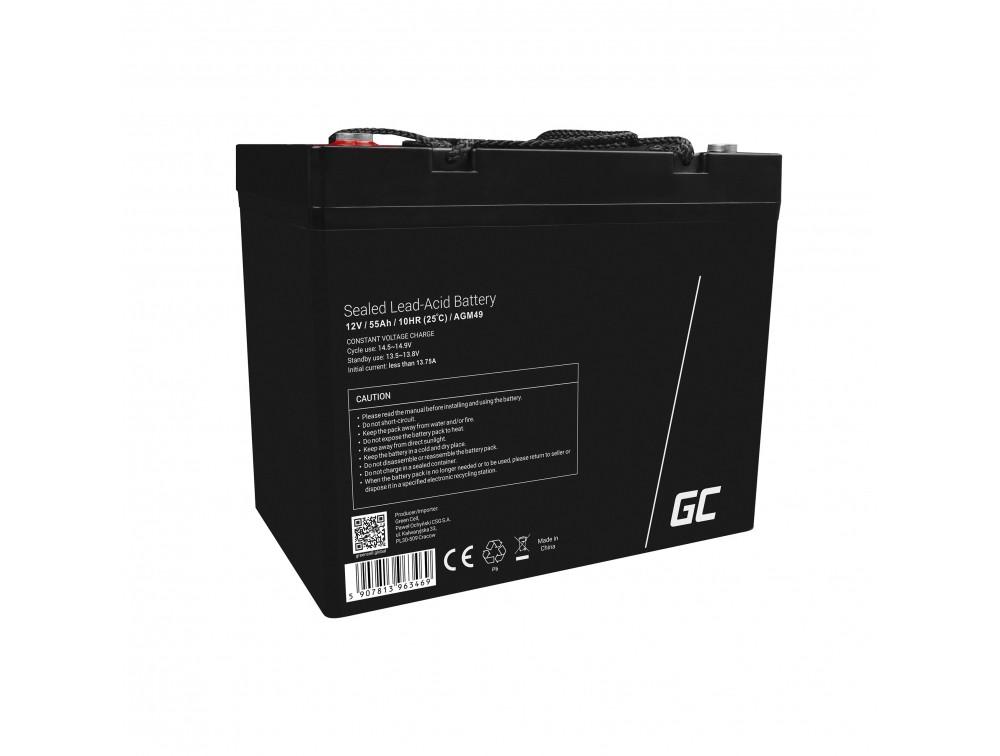 AGM baterija olovna kiselina 12V 55Ah Zelena ćelija za čamac i gumenjak bez održavanja