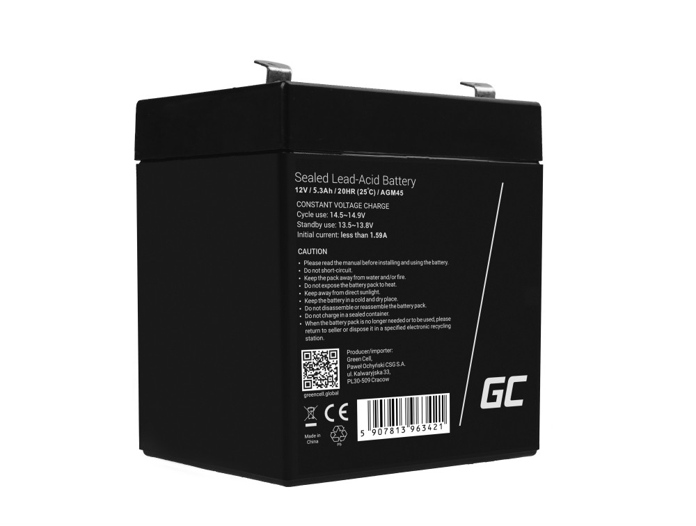AGM Battery Lead Acid 12V 5.3Ah Maintenance Free Green Cell for alarm and car
