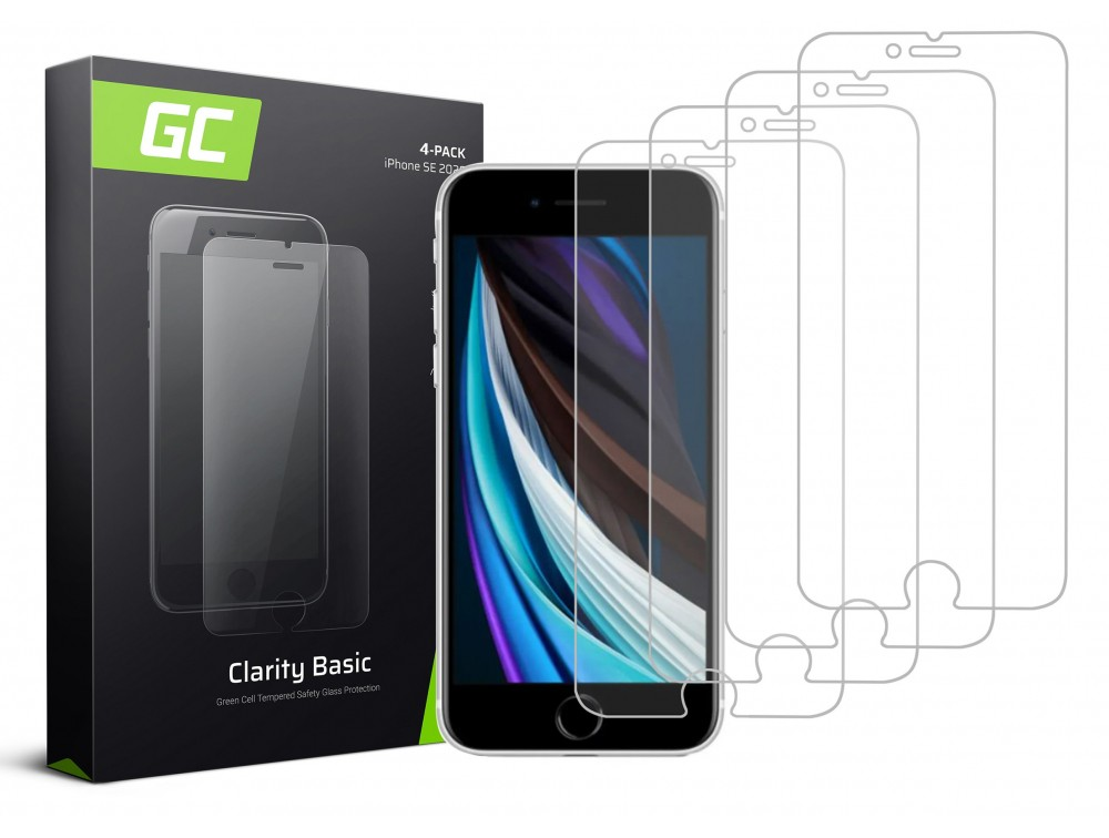4x Screen protection GC Clarity for Phone SE 2020 / 6 / 6S / 7 / 8