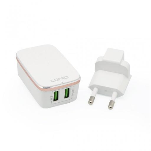 [3GC43451] Kucni punjac LDNIO A2204 2xUSB 5V 2.4A sa iPhone 6/6S kablom beli
