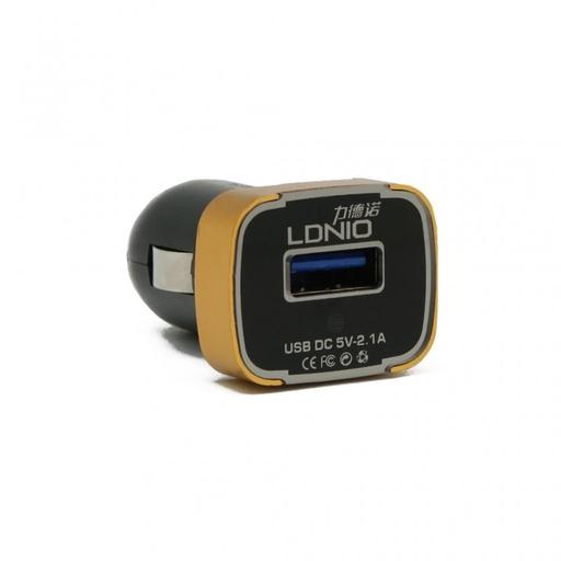 [3GC42677] Auto punjac LDNIO DL-C22 dual USB 2.1A sa iPhone 6/6S kablom crni