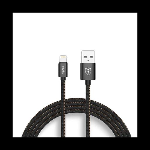 [3GC74055] Data kabl T-phox Jeans iPhone lightning 2.4A crni 1.2m