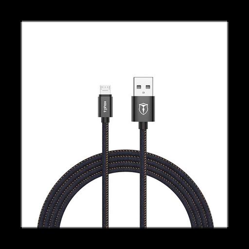 [3GC74057] Data kabl T-phox Jeans micro USB 2.4A crni 1.2m