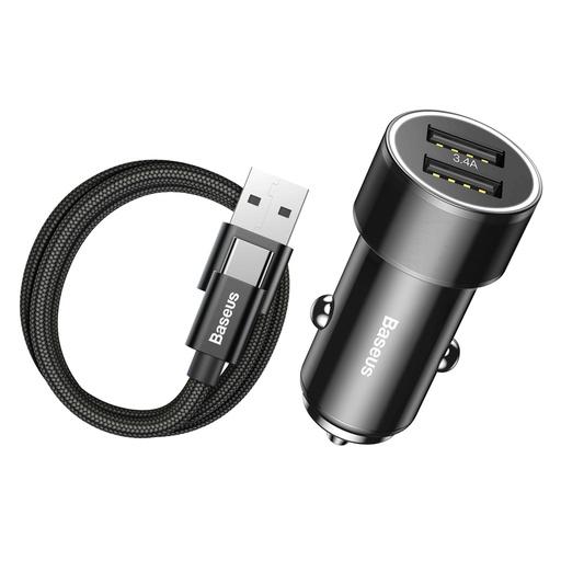 [HRT.41704] Baseus mali vijak 3.4A Univerzalni pametni automobilski punjač 2x USB + USB Type-C kabel 1m 2A crni